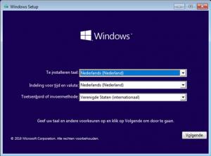 Windows 10 installatie taal kiezen
