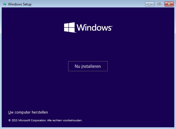 Windows 10 Setup scherm